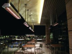 For this upscale restaurant patio, Infratech created custom metal shrouds for a group of ceiling-mounted W-Series heaters, to keep guests comfortable while they enjoy a gorgeous view of city lights.