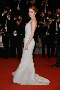 """Emma Stone Photos - Emma Stone attends the Premiere of """"Irrational Man"""" during the annual Cannes Film Festival on May 2015 in Cannes, France. - 'Irrational Man' Premiere - The Annual Cannes Film Festival Emma Stone Style, Actress Emma Stone, Get Up And Walk, Christian Dior Couture, Golden Globe Award, Cannes Film Festival, Best Actress, Formal Dresses, Wedding Dresses"""
