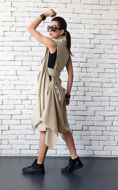 NEW Beige Linen Asymmetric Tunic/Extravagant Loose by Metamorphoza