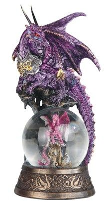 Purple Dragon on Snow Globe -Dragon