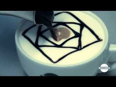 Latte Art tutorial - Flower in a picture frame (TOPPING) - YouTube