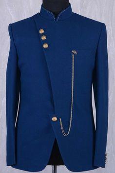 Dark Teal Blue Jute Thread embroidered Jodhpuri Suit-ST706