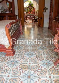At a posada in Antigua, Guatemala, a simple pattern of cement tiles covers the floor. Guatemala, much like other Central American countries, has a rich tradition of cement tile.