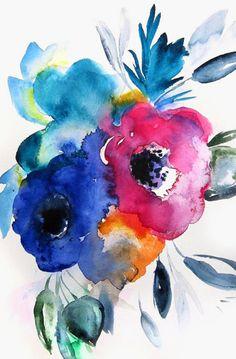 Encantadores Clusters - Beautiful Tiendas: No.9 Floral - Acuarela Pintura - Abstracto
