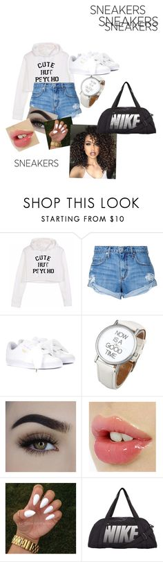 """""""Looking good"""" by jazzminspaulding ❤ liked on Polyvore featuring Nobody Denim, Puma, ASAP and NIKE"""