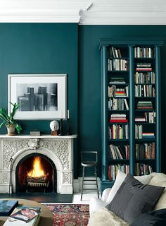 Adding rich, sophisticated color makes a space feel complete, and uniquely yours. We're loving this smokey jewel tone from Ralph Lauren's Greenwich Village Palette, available at Home Depot. Teal Rooms, Teal Walls, Dark Walls, Turquoise Walls, Turquoise Accents, Green Walls, Color Walls, Teal Rug, Accent Walls