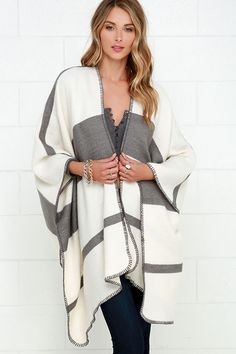 Gorgeous Grey and Ivory Striped Poncho