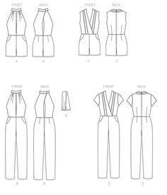 M7366   McCall's Patterns Misses' Pleated Surplice or Plunging-Neckline Rompers, Jumpsuits and Belt