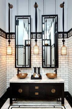 Fabulous Black & White Bath - High ceilings, tall narrow mirrors, & pendant lights