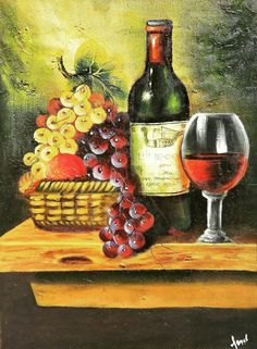 Buy Still Life artwork number a famous painting by an Indian Artist Payal Aggarwal. Indian Art Ideas offer contemporary and modern art at reasonable price. Wine Painting, Fruit Painting, Still Life Drawing, Painting Still Life, Fruit Basket Drawing, Balloon Dog Sculpture, Landscape Drawings, Mixed Media Painting, Glass Bottle