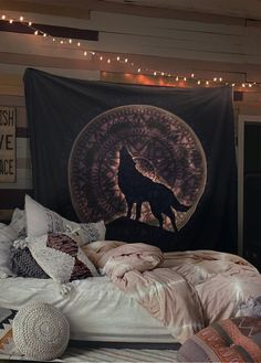 White Moon Wolf Pink Tapestry Blue Distressed Tapestry Wall Hanging Meditation Yoga Grunge Hippie So Tapestry Bedroom, Tapestry Wall Hanging, Blue Bedroom Decor, Modern Bedroom, Hippy Room, Cute Room Decor, Aesthetic Room Decor, Bedroom Layouts, Bedroom Decor