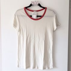 """BNWT cream with red trim top 27"""" in length Brandy Melville Tops"""