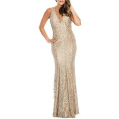 6270ec7c560b Decode 1.8 Sequined Fishtail Gown ($167) ❤ liked on Polyvore featuring  dresses, gowns