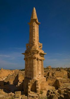 Mausoleum of Bes, Sabratha, Libya Ancient Greek Architecture, Roman Architecture, Ancient Buildings, Beautiful Architecture, Mayan Ruins, Ancient Ruins, Ancient Rome, Ancient History, Templer