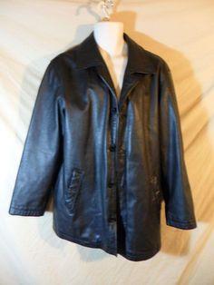VINTAGE M. Julian Wlisons Men's Black Leather Button Front Hip Coat Jacket-SMALL #Wilsons #BasicCoat