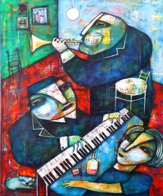 JAZZ AT HOME by Dan Casado acrylic and collage on stretched canvas 19.5x23 inch - 49x60cm www.dancasado.com