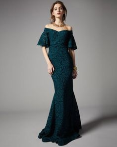 Off-the-Shoulder 1/2-Sleeve Lace Mermaid Gown