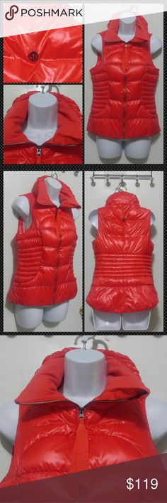 """New Lululemon Fluffin Awesome Puffer Vest 6 New without tags goose down filled Lululemon puffer vest. Two hand pockets with fleece collar. Logo on the ribbon zipper pull. So cute and lightweight   16"""" across armpit to armpit 24"""" long shoulder seam to bottom hem   Has large metal logo on the back This is a vivid Orange color  Goose down fill, rip tag attached, perfect for layering  Water resistant 800 fill goose down  ** Looks Orange to me but it may be the alarming red color **  No trades…"""