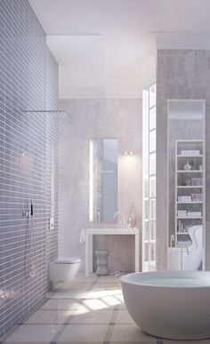 A Cool, Light Color Scheme And Disappearing Designs Make This Spa Bathroom  Clean And Calming