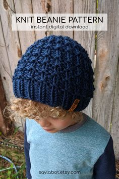 Baby Hat Knitting Patterns Free, Beanie Pattern Free, Knit Headband Pattern, Baby Hats Knitting, Knitted Headband, Knitting For Kids, Free Knitting, Knitted Hats, Crochet Diy