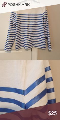 J Crew striped top - size M J Crew blue and white striped top. The blue has a metallic, shinny effect. Super comfortable to wear. Excellent condition. J. Crew Tops Tees - Long Sleeve