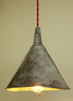 Metal Funnel Shade hanging lamp by puffindesignstudio on Etsy, $195.00