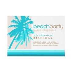 Palm Trees Beach Party Invitations by reflections06