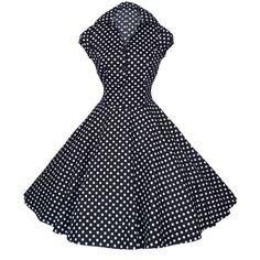 Black & White Dot Rockabilly Short Sleeve Dress