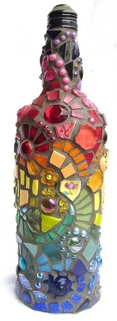 Mosaic wine bottle, then turn into a table top torch! - Click image to find more DIY & Crafts Pinterest pins