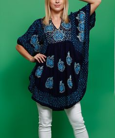 This Navy & Turquoise Abstract Cape-Sleeve Tunic is perfect! #zulilyfinds