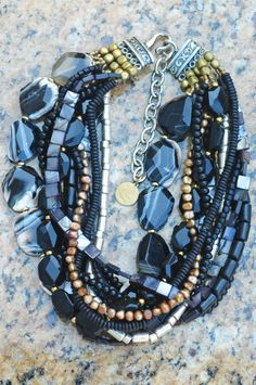 Midnight: Elegant Black Agate, Gold and Silver Necklace