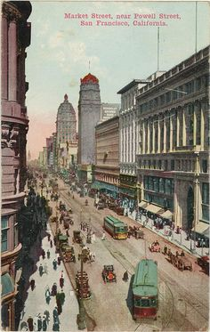 San Francisco California Market Street near Powell Street Vintage Postcard