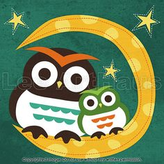 """Title: """"Owls on Moon"""" 6x6 Print    This is a reproduction print of an original digital illustration. The print image size measures 6"""" x 6"""" and it is"""