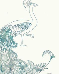 Mehndi style Peacock Art Print from my Original Illustration - 8x10. $13.50, via Etsy.