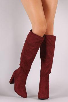 Bamboo Plain Suede Chunky Heeled Knee High Boots