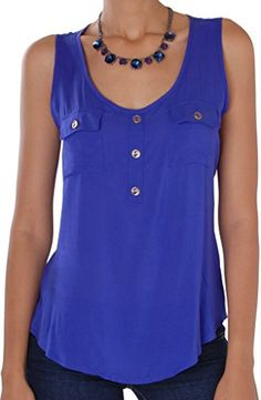 Humble Chic Womens Button Up Pocket Tank  Royal MED  Soft Sleeveless Blouse Royal Blue ** Click on the image for additional details.