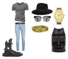 """""""stripes"""" by bandathando on Polyvore featuring Ann Demeulemeester, Topman, Larose, Gucci, Versace, JBW, Fred Perry, men's fashion and menswear"""