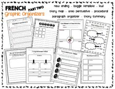 Graphic organizer bundle for French immersion language - ideas Read In French, Learn French, Too Cool For School, School Stuff, Teaching French Immersion, Language Immersion, Teaching Secondary, Core French, French Classroom