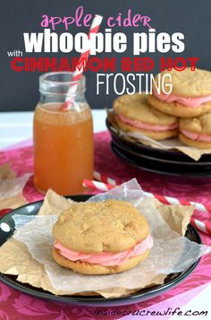 Apple Cider Whoopie Pies - apple cookies filled with a red hot frosting http://www.insidebrucrewlife.com