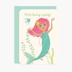 Make a splash with a party under the sea! Our mermaid will have little guests excited about the fabulous mermaid party from the start. - 10 write-in flat card invites - 10 aqua envelopes - size A7 (5