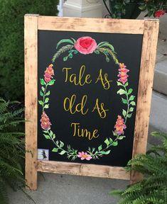 Beauty and Beast Wedding - Wedding Sign - Wedding Chalkboard - Wedding Signs - Rustic Wedding Sign - Beauty and the Beast Theme by LolasDesignLoft on Etsy