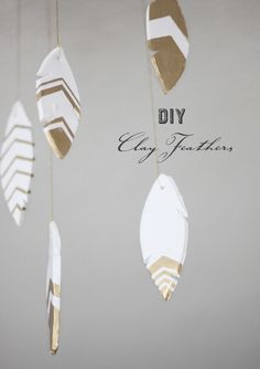 DIY Roomspiration | Clay Feathers | Would also look cute in the garden with windchimes