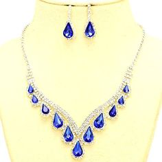 Affordable Bridal Prom Jewelry Sapphire Blue Clear Rhinestone Teardrop Silver Necklace Jewelry Earrings Set Christina Collection http://www.amazon.com/dp/B01B549F5U/ref=cm_sw_r_pi_dp_TlFSwb0C9E02F