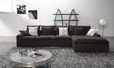 Sectional Sofa in Black Fabric E98B
