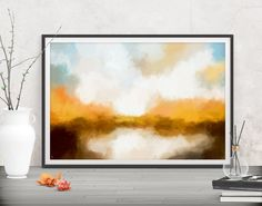 Bring the colors of fall to your living space with this large landscape art. Shop printables at FraBorArt.    #homedecor #interiordesign #painting #modernart #abstract #minimalist #digitalart #downloadable #printable #affordable #etsy #art #fraborart