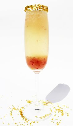 "Skip the bar, and set up a ""Make Your Own Bellini"" station. Set out champagne, juices (peach, cranberry, and blood orange) with citrus twists & berries for garnish. Also lovely for a bridal shower. So pretty and festive. Cheers!"