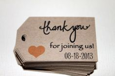 Items similar to Kraft Thank You For Joining Us - Wedding favor tags - Hang tags - Gift Tags - Set of 40 - Personalized - Custom Printed & Die Cut on Etsy Wedding Favor Tags, Wedding Gifts, Card Tags, Gift Tags, Our Wedding, Dream Wedding, Wedding Inspiration, Wedding Ideas, Wedding Planning