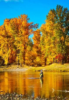 Fishing in Missoula, Montana.  Fall colors of Montana