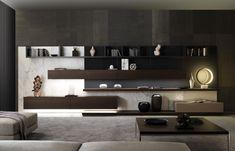 Módulo de arrumação de parede secional com luzes integradas TAO10 by MisuraEmme design Mauro Lipparini