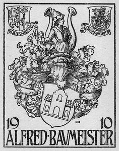 Bookplate of Alfred Baumeister Artist: R.A.     Date: 1910     Description: States, '1910 Alfred Baumeister;' features one large shield depicting a home with a helmet and the bust of a man. Also features two smaller shields: one with a ribbon stating 'Abenberg' and the other with a ribbon stating 'Hohenwart.' Signed at bottom right 'Ra.'     Format: 1 print, b&W, 11 x 9 cm.     Source: Pratt Institute Libraries, Special Collections 72 (sc00311)